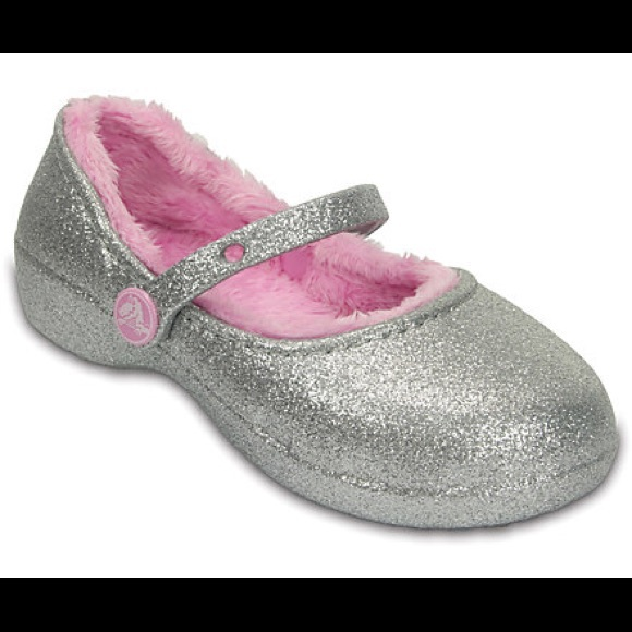 5d7aee49cff31 HP Crocs Silver Sparkle Fur Lined Clog Size 13